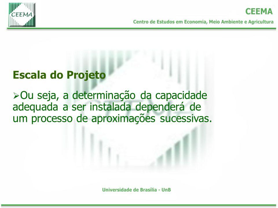 Escala do Projeto Ou seja, a determinação da capacidade adequada a ser instalada dependerá de um processo de aproximações sucessivas.