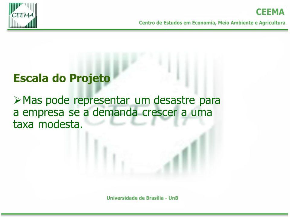 Escala do Projeto Mas pode representar um desastre para a empresa se a demanda crescer a uma taxa modesta.