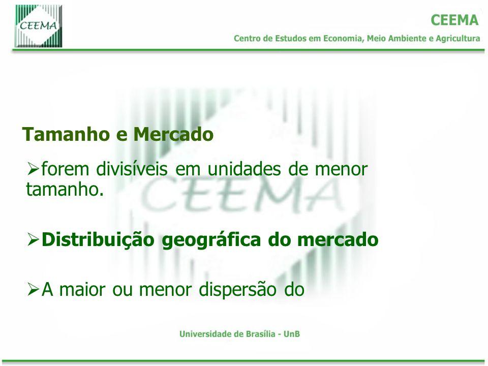 Tamanho e Mercado forem divisíveis em unidades de menor tamanho. Distribuição geográfica do mercado.