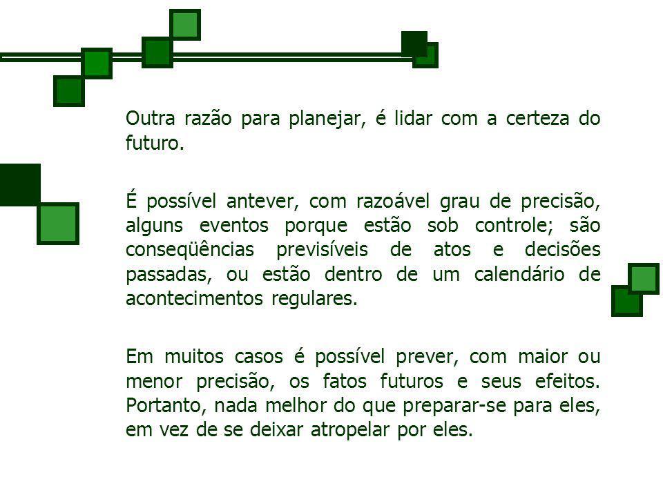 Outra razão para planejar, é lidar com a certeza do futuro.