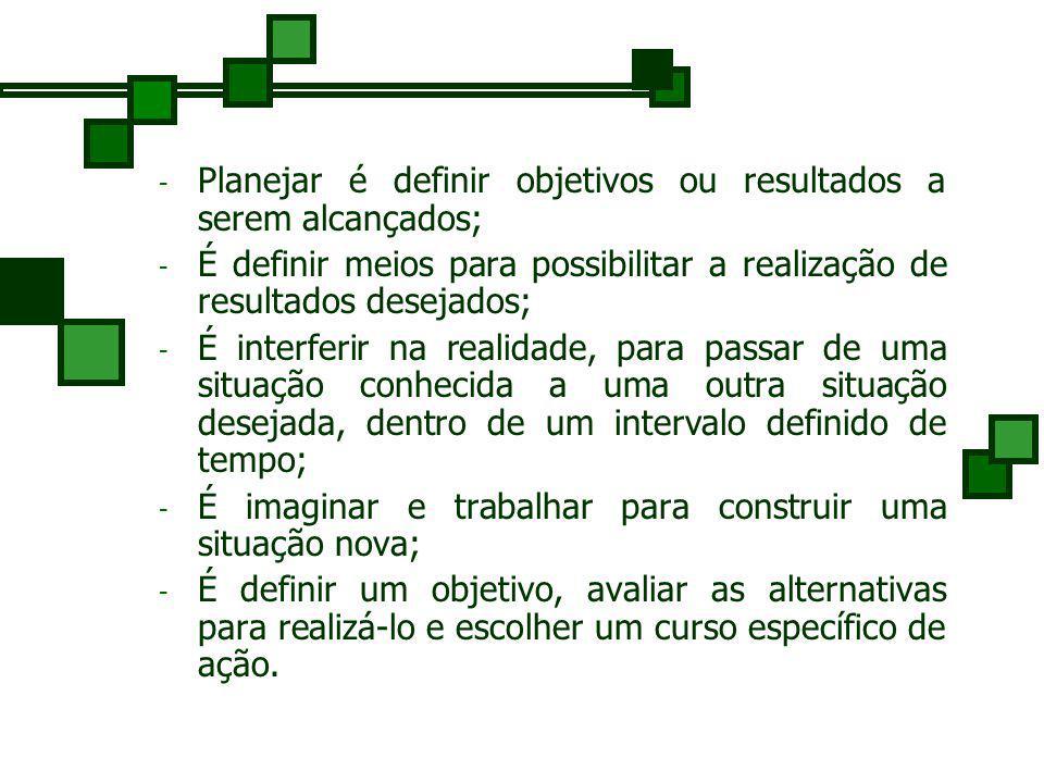 Planejar é definir objetivos ou resultados a serem alcançados;