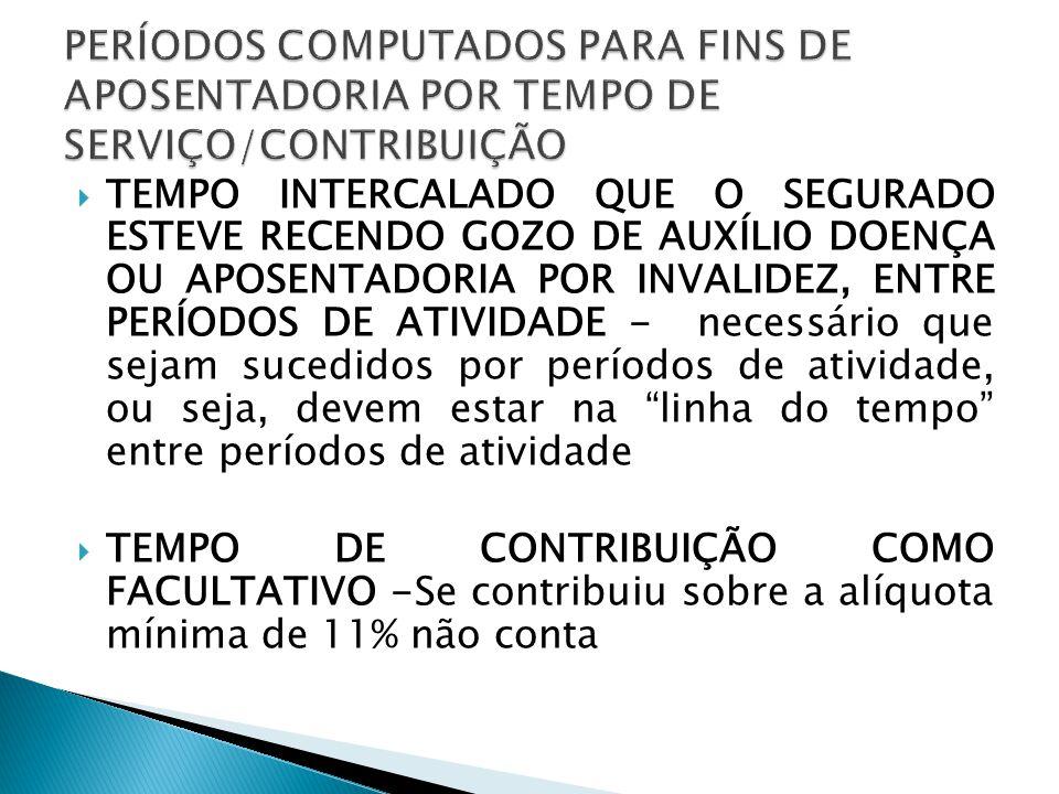 PERÍODOS COMPUTADOS PARA FINS DE APOSENTADORIA POR TEMPO DE SERVIÇO/CONTRIBUIÇÃO