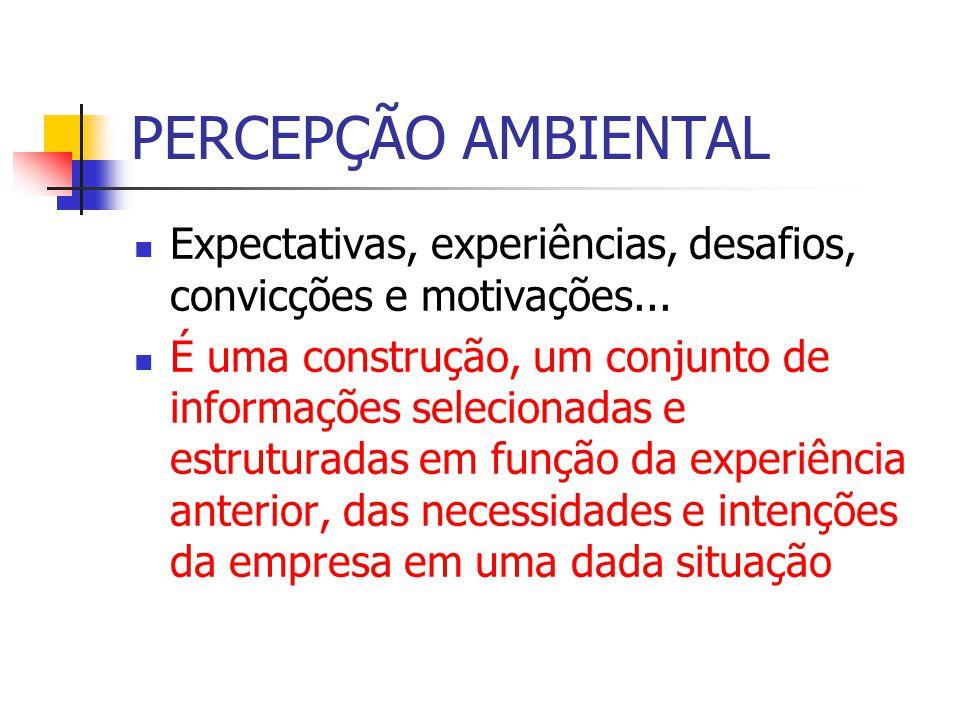 PERCEPÇÃO AMBIENTAL Expectativas, experiências, desafios, convicções e motivações...