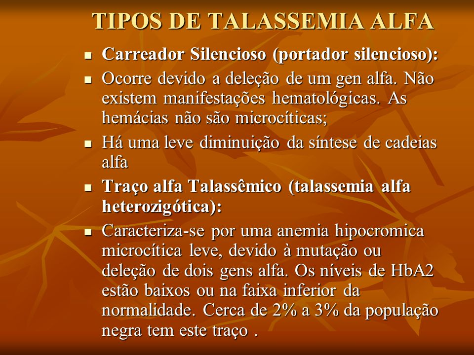TIPOS DE TALASSEMIA ALFA