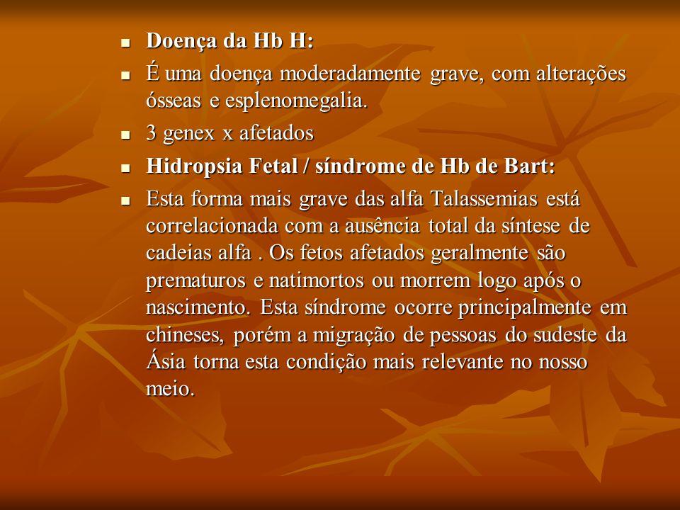 Doença da Hb H: É uma doença moderadamente grave, com alterações ósseas e esplenomegalia. 3 genex x afetados.