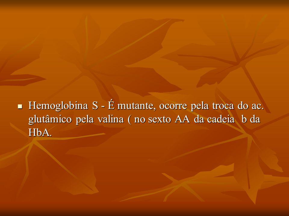 Hemoglobina S - É mutante, ocorre pela troca do ac