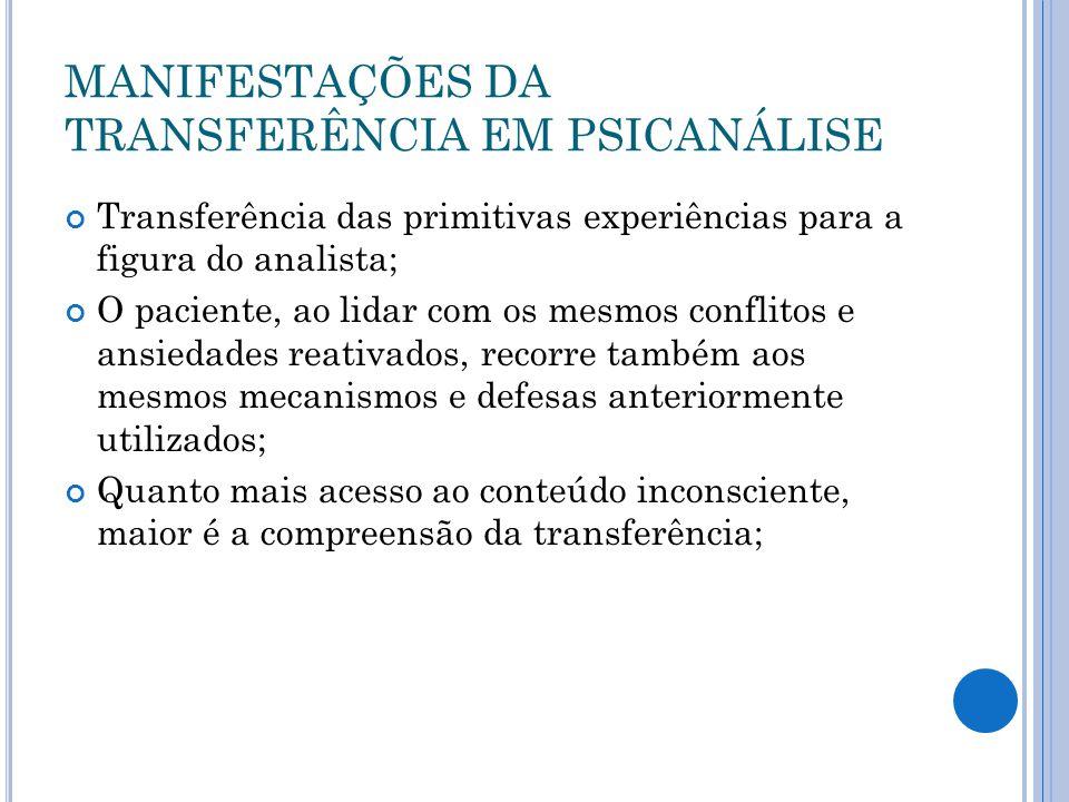 MANIFESTAÇÕES DA TRANSFERÊNCIA EM PSICANÁLISE
