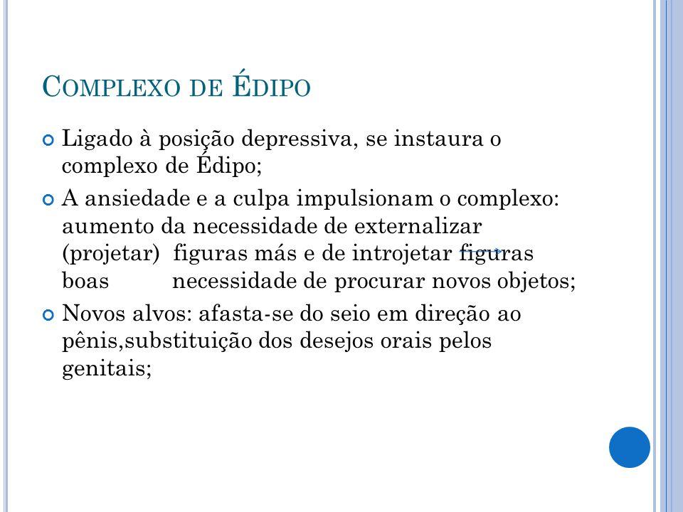 Complexo de Édipo Ligado à posição depressiva, se instaura o complexo de Édipo;