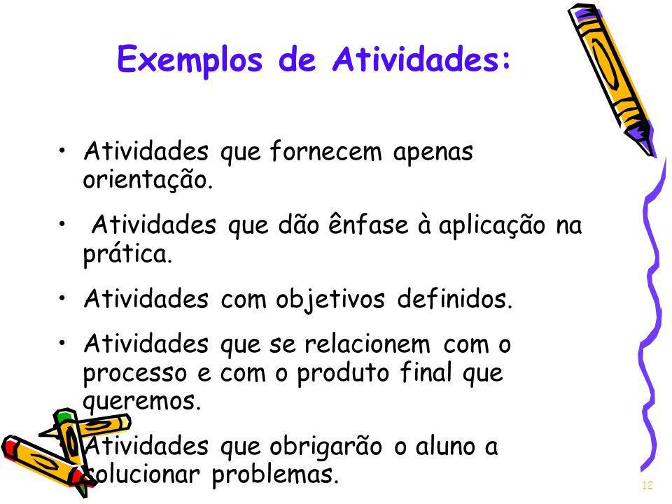 Exemplos de Atividades: