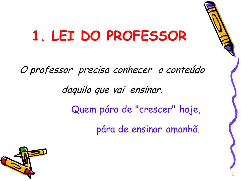 1. LEI DO PROFESSOR O professor precisa conhecer o conteúdo