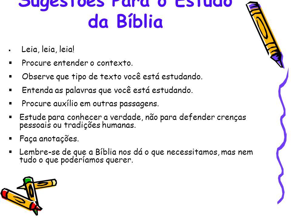 Sugestões Para o Estudo da Bíblia
