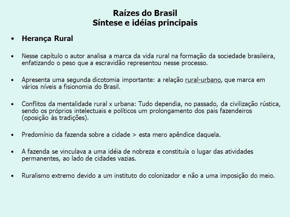 Raízes do Brasil Síntese e idéias principais