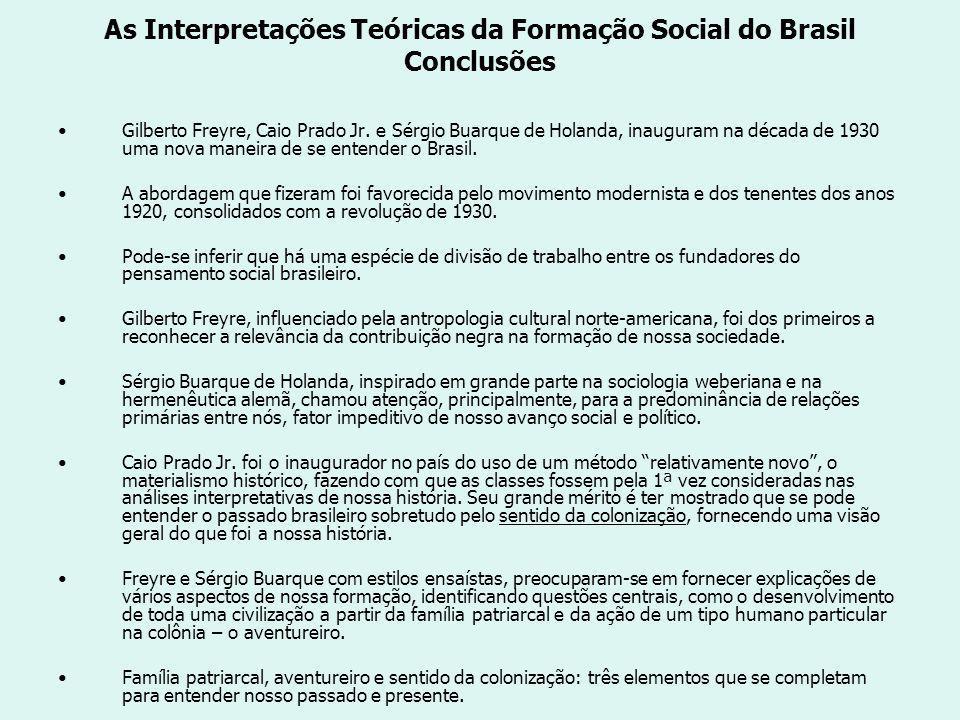 As Interpretações Teóricas da Formação Social do Brasil Conclusões