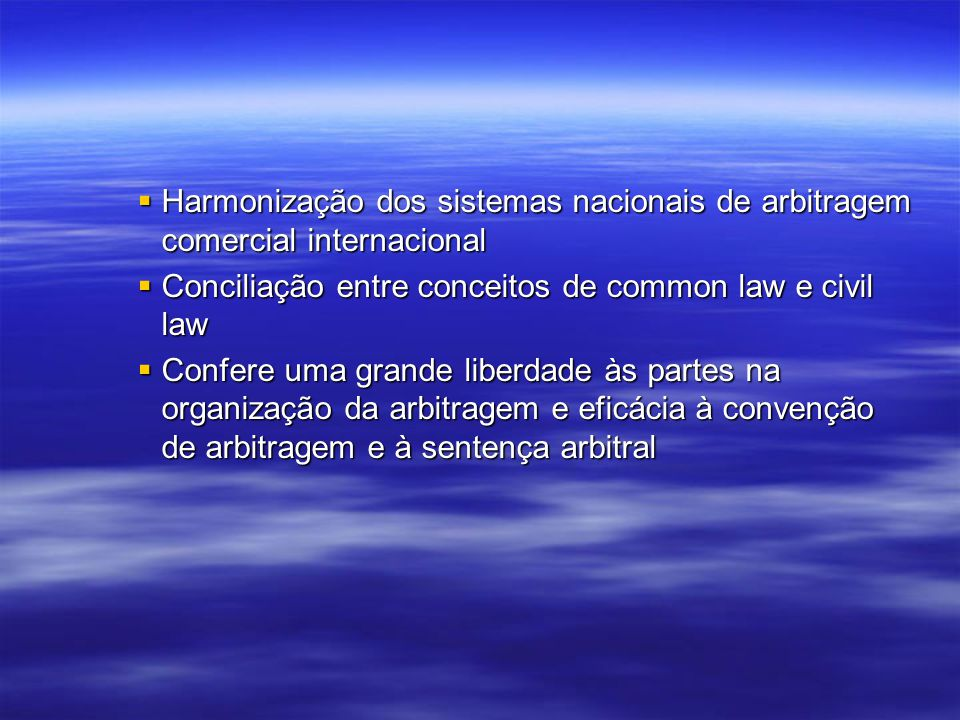 Harmonização dos sistemas nacionais de arbitragem comercial internacional