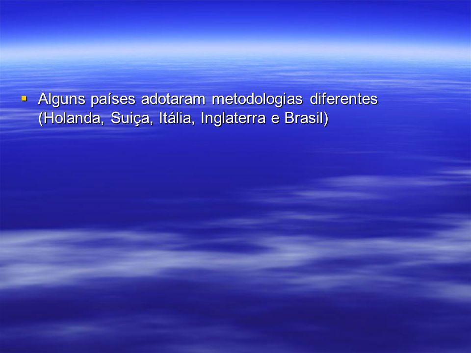 Alguns países adotaram metodologias diferentes (Holanda, Suiça, Itália, Inglaterra e Brasil)