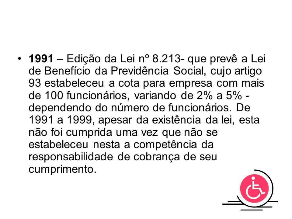1991 – Edição da Lei nº 8.213- que prevê a Lei de Benefício da Previdência Social, cujo artigo 93 estabeleceu a cota para empresa com mais de 100 funcionários, variando de 2% a 5% - dependendo do número de funcionários.