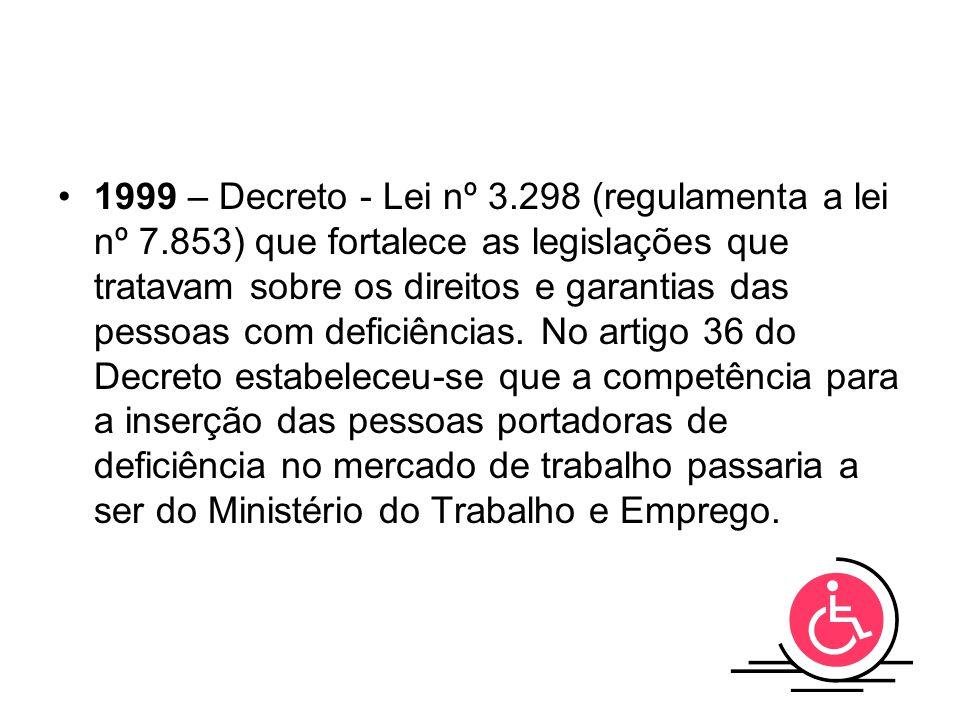 1999 – Decreto - Lei nº 3. 298 (regulamenta a lei nº 7
