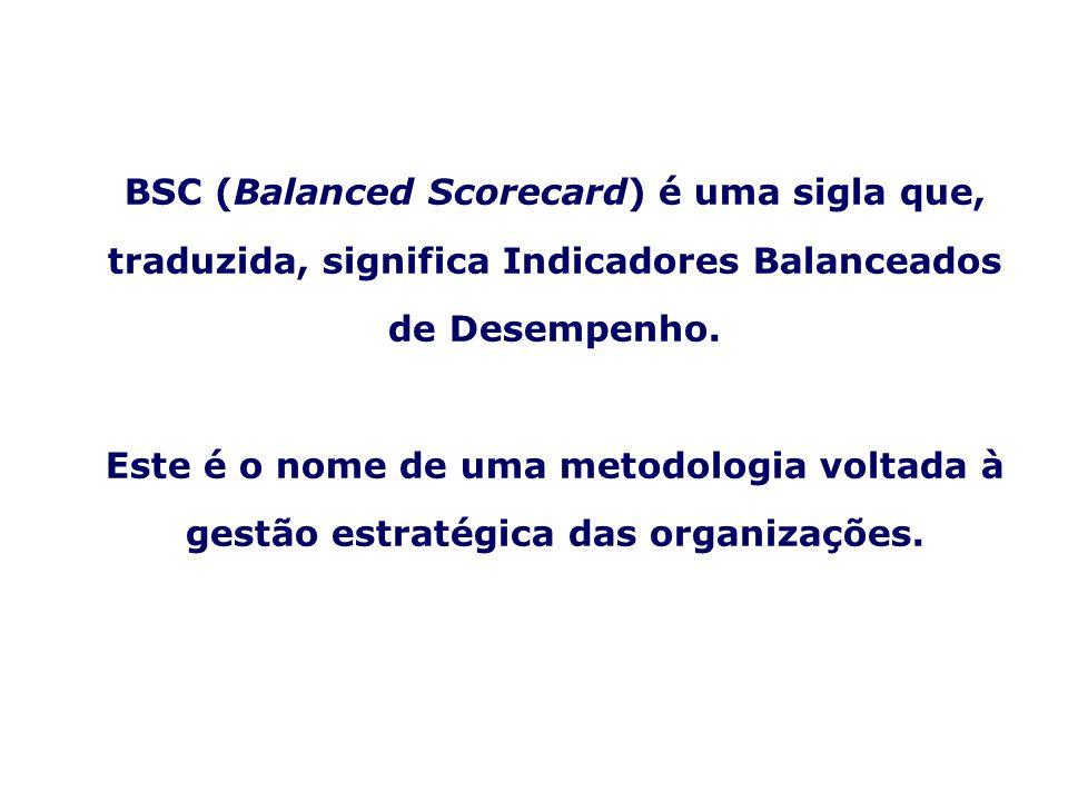 BSC (Balanced Scorecard) é uma sigla que, traduzida, significa Indicadores Balanceados de Desempenho.