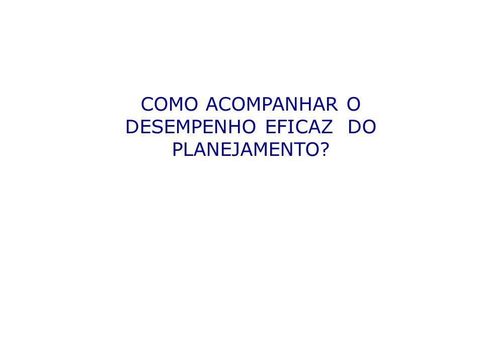 COMO ACOMPANHAR O DESEMPENHO EFICAZ DO PLANEJAMENTO