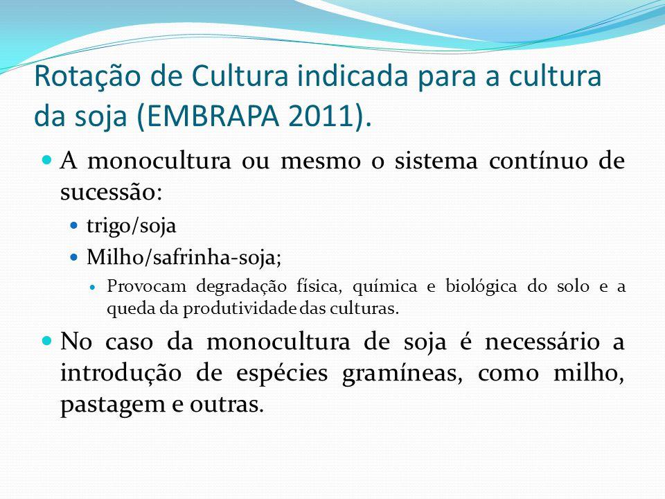 Rotação de Cultura indicada para a cultura da soja (EMBRAPA 2011).