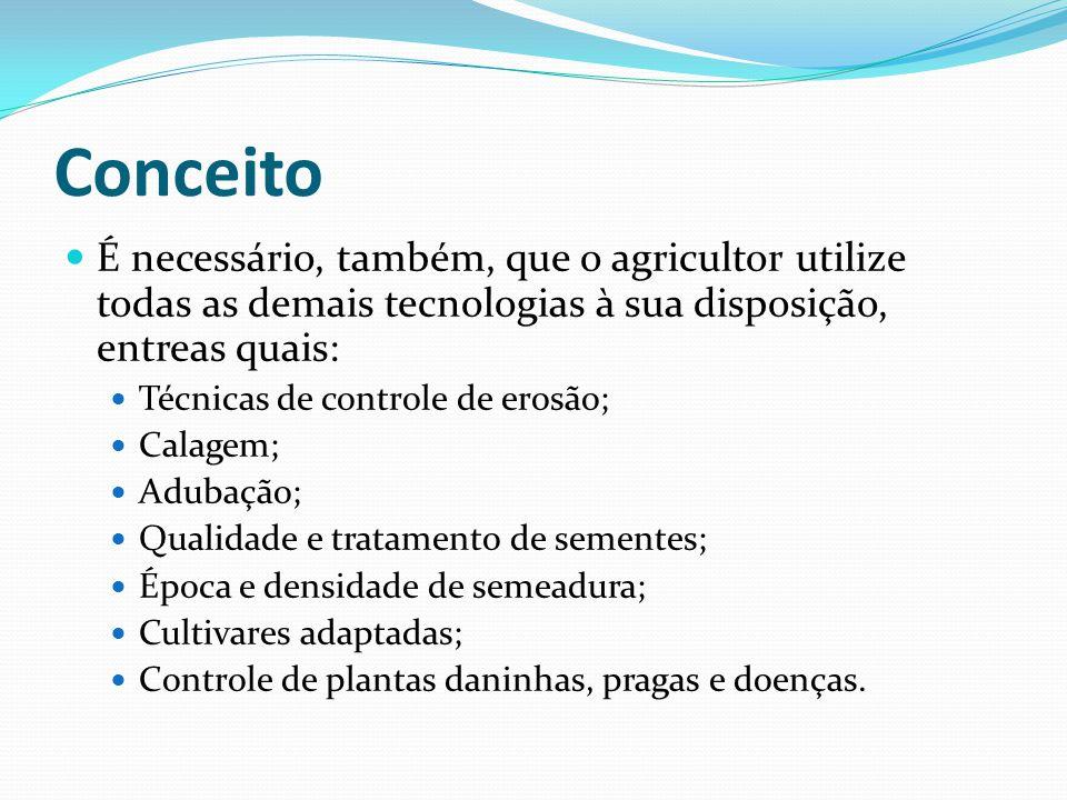 Conceito É necessário, também, que o agricultor utilize todas as demais tecnologias à sua disposição, entreas quais: