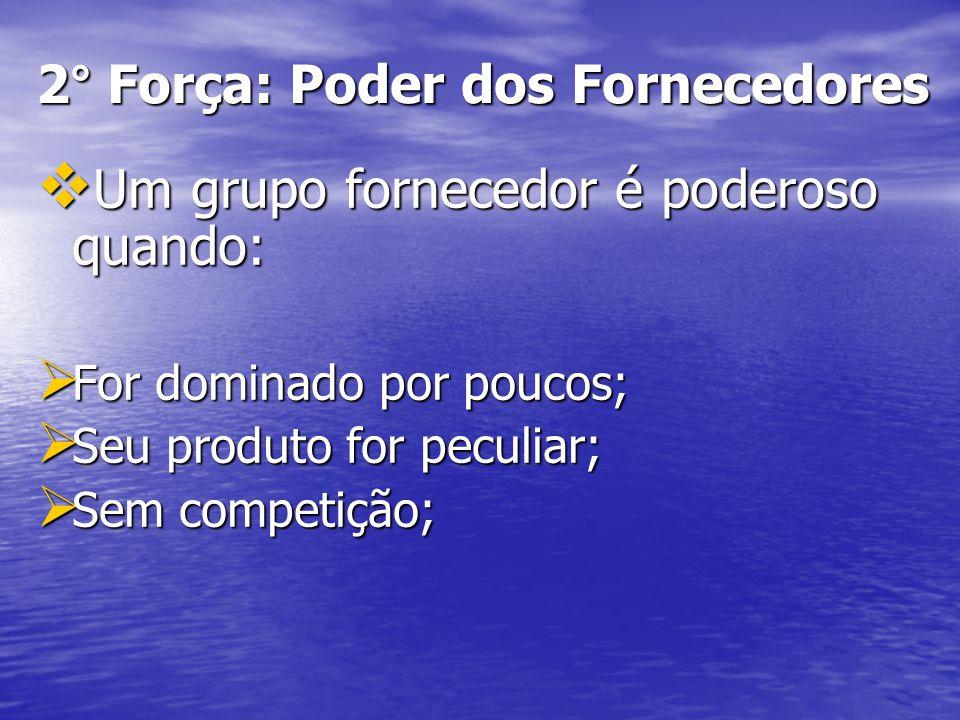 2° Força: Poder dos Fornecedores