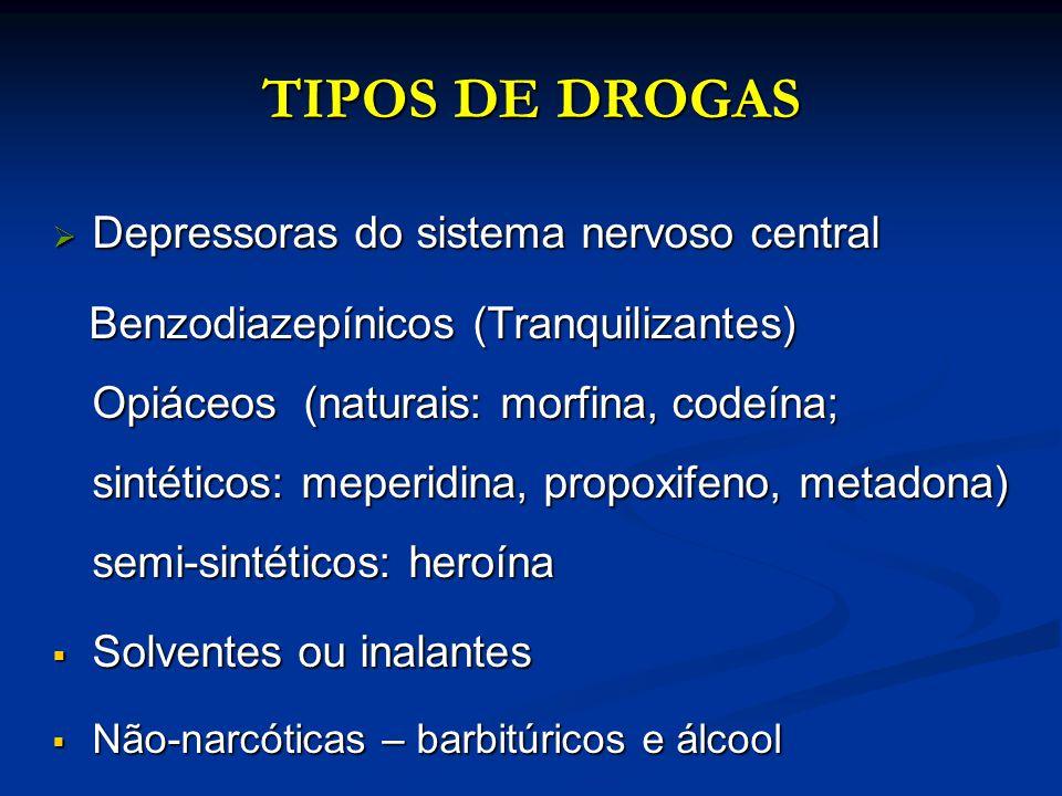 TIPOS DE DROGAS Depressoras do sistema nervoso central