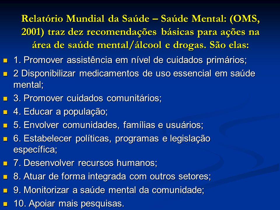 Relatório Mundial da Saúde – Saúde Mental: (OMS, 2001) traz dez recomendações básicas para ações na área de saúde mental/álcool e drogas. São elas: