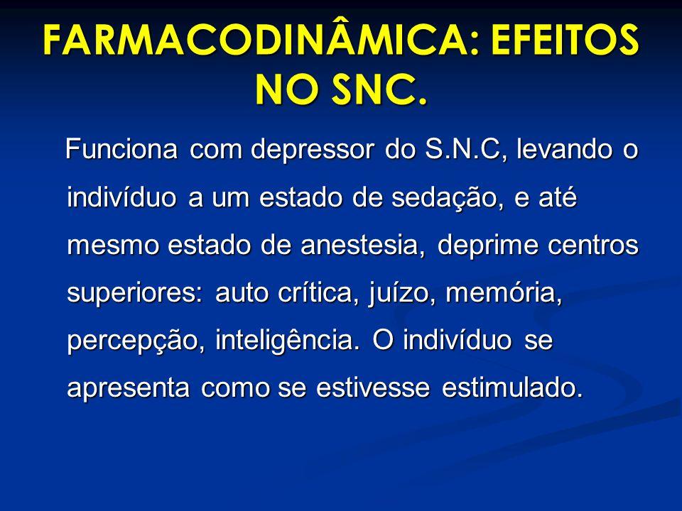 FARMACODINÂMICA: EFEITOS NO SNC.