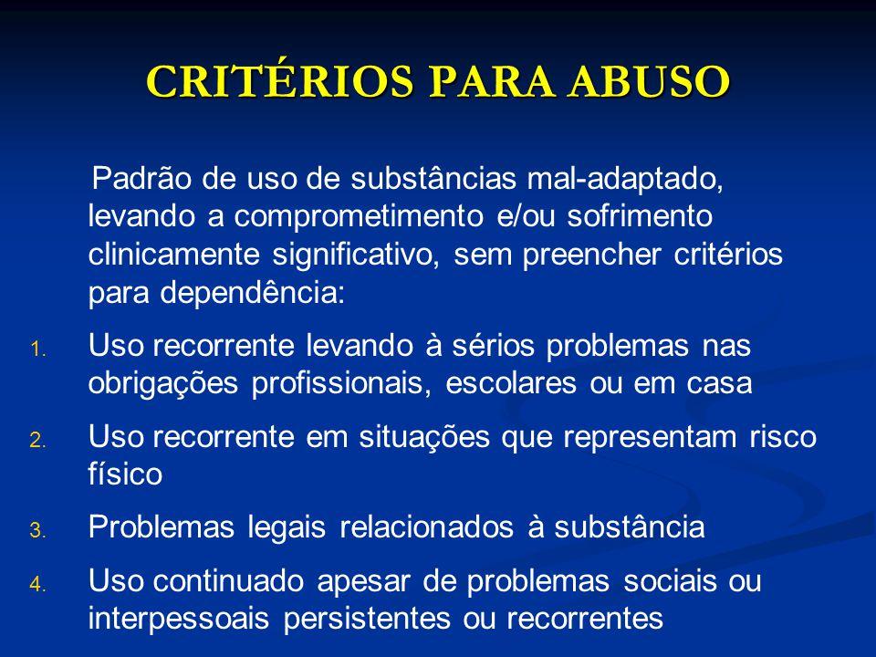 CRITÉRIOS PARA ABUSO