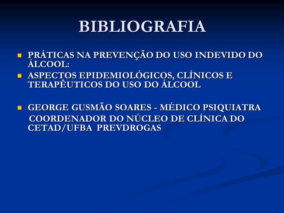 BIBLIOGRAFIA PRÁTICAS NA PREVENÇÃO DO USO INDEVIDO DO ÁLCOOL: