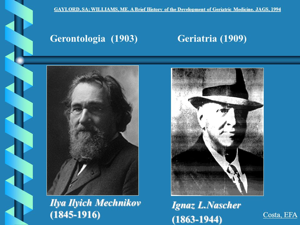 Gerontologia (1903) Geriatria (1909) Ilya Ilyich Mechnikov (1845-1916)
