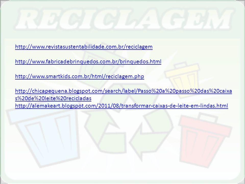 http://www.revistasustentabilidade.com.br/reciclagem http://www.fabricadebrinquedos.com.br/brinquedos.html.