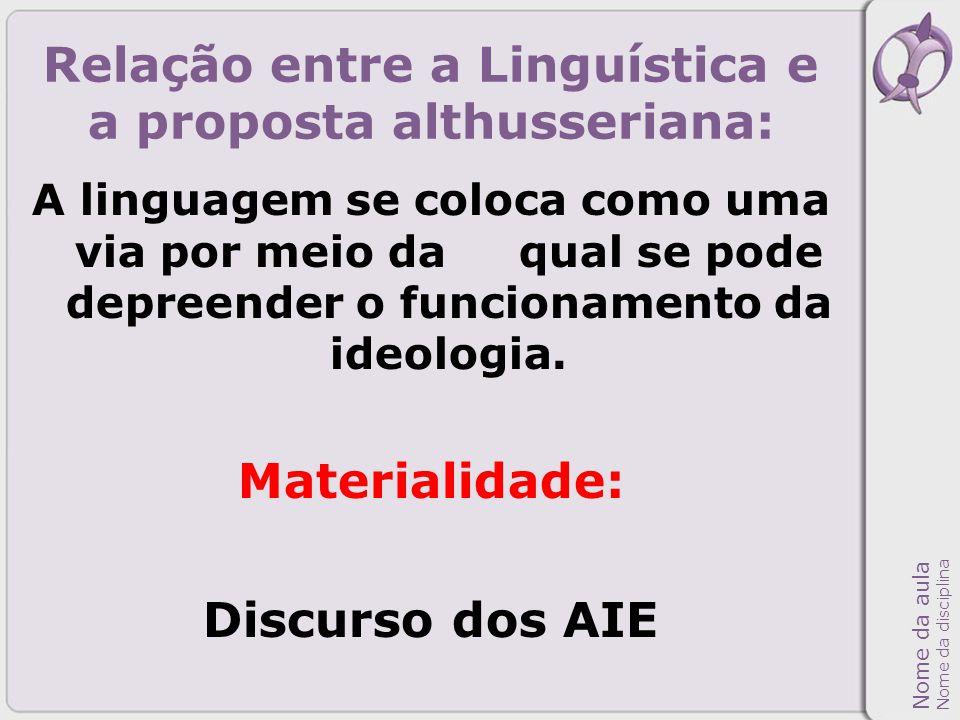 Relação entre a Linguística e a proposta althusseriana: