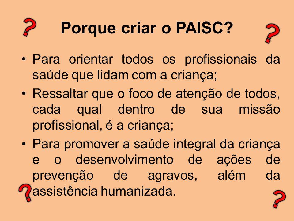 Porque criar o PAISC Para orientar todos os profissionais da saúde que lidam com a criança;