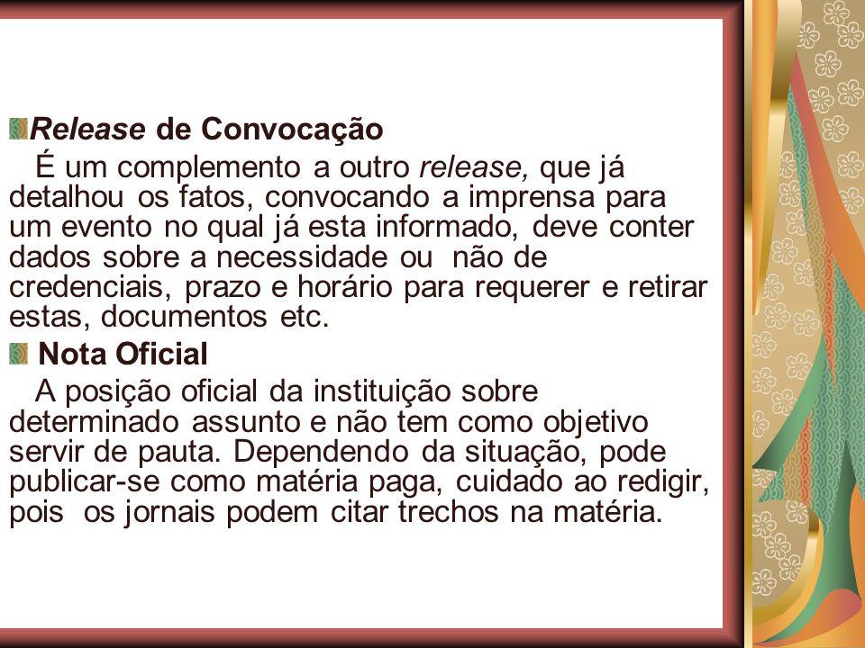 Release de Convocação