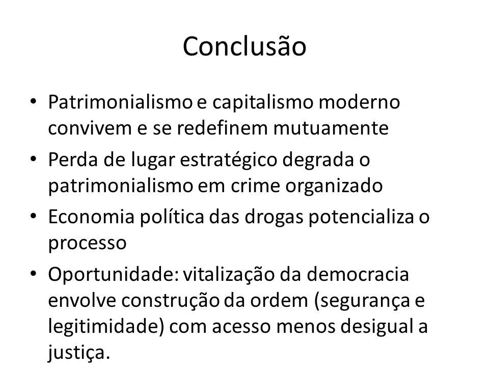 Conclusão Patrimonialismo e capitalismo moderno convivem e se redefinem mutuamente.