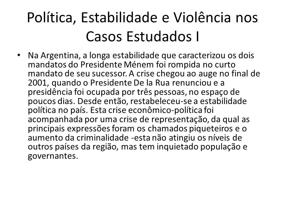 Política, Estabilidade e Violência nos Casos Estudados I