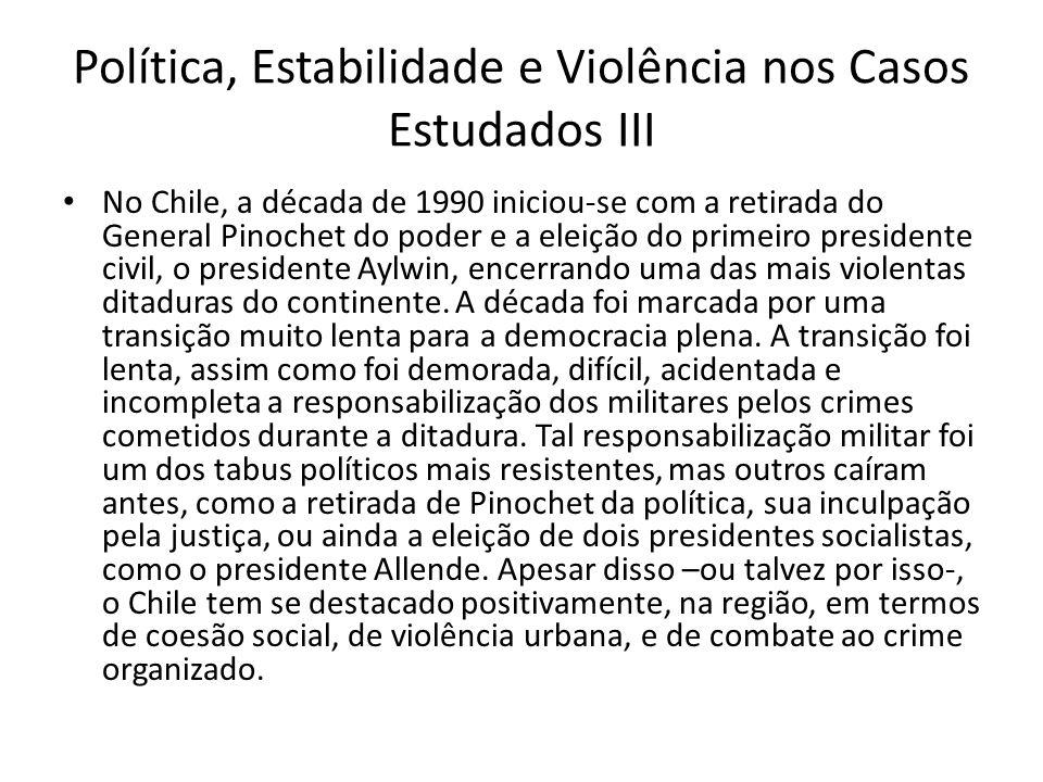 Política, Estabilidade e Violência nos Casos Estudados III
