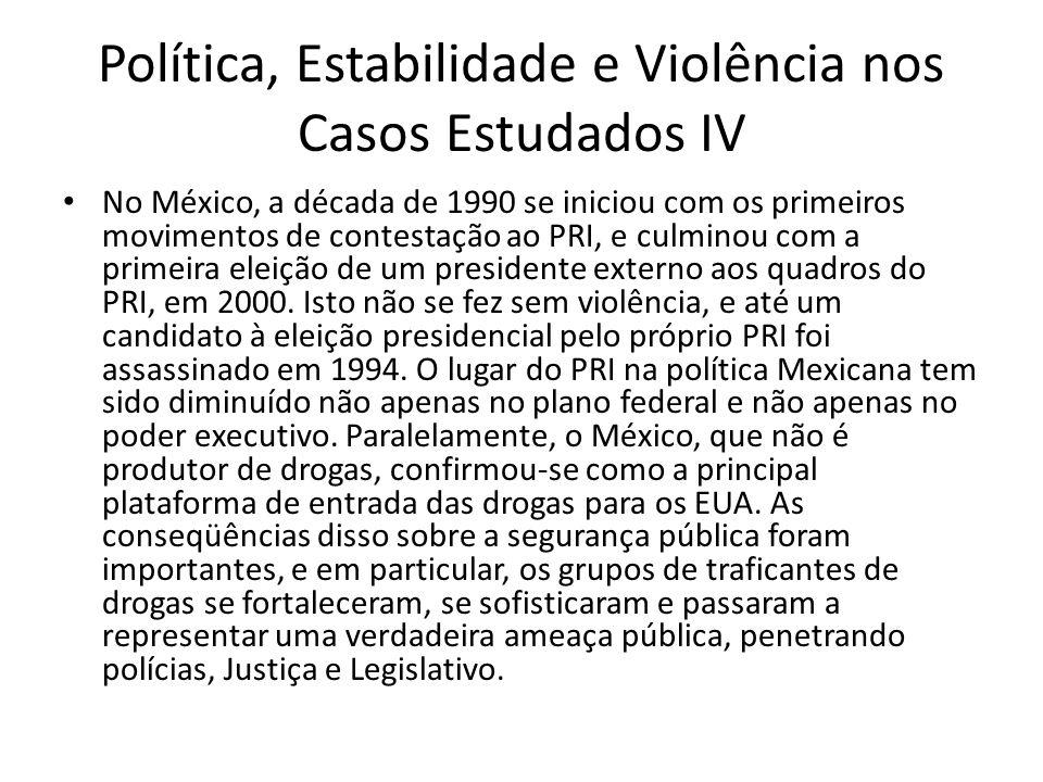 Política, Estabilidade e Violência nos Casos Estudados IV