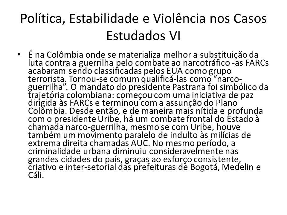 Política, Estabilidade e Violência nos Casos Estudados VI