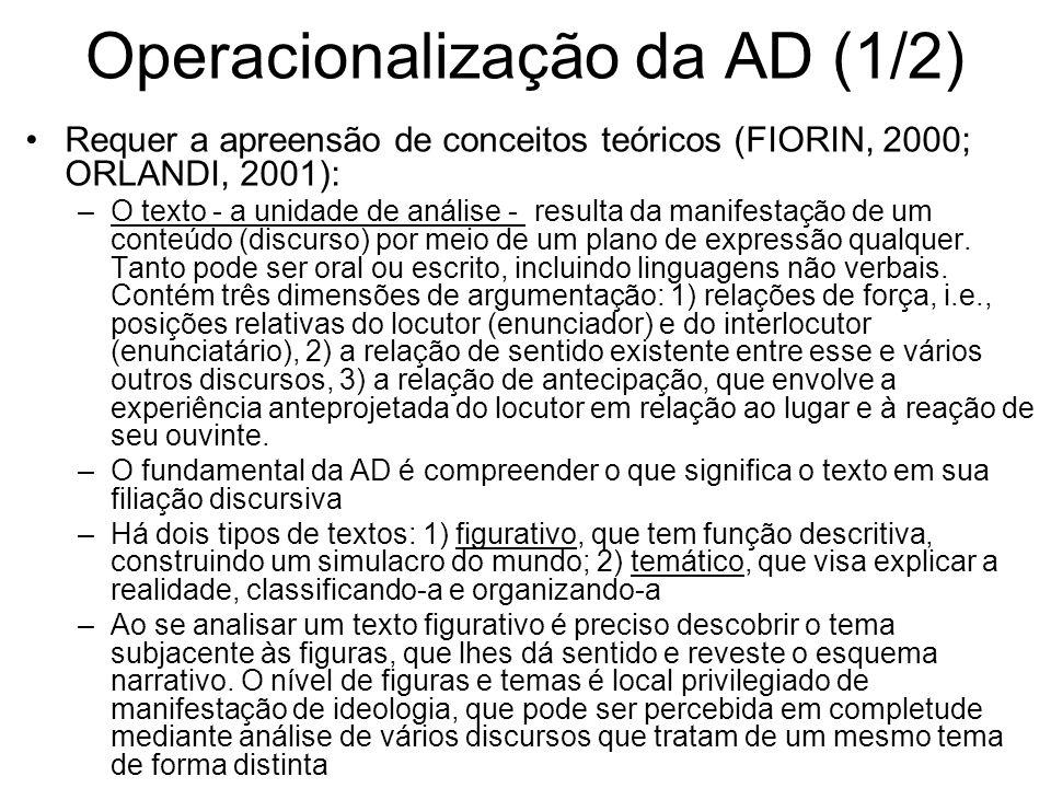 Operacionalização da AD (1/2)