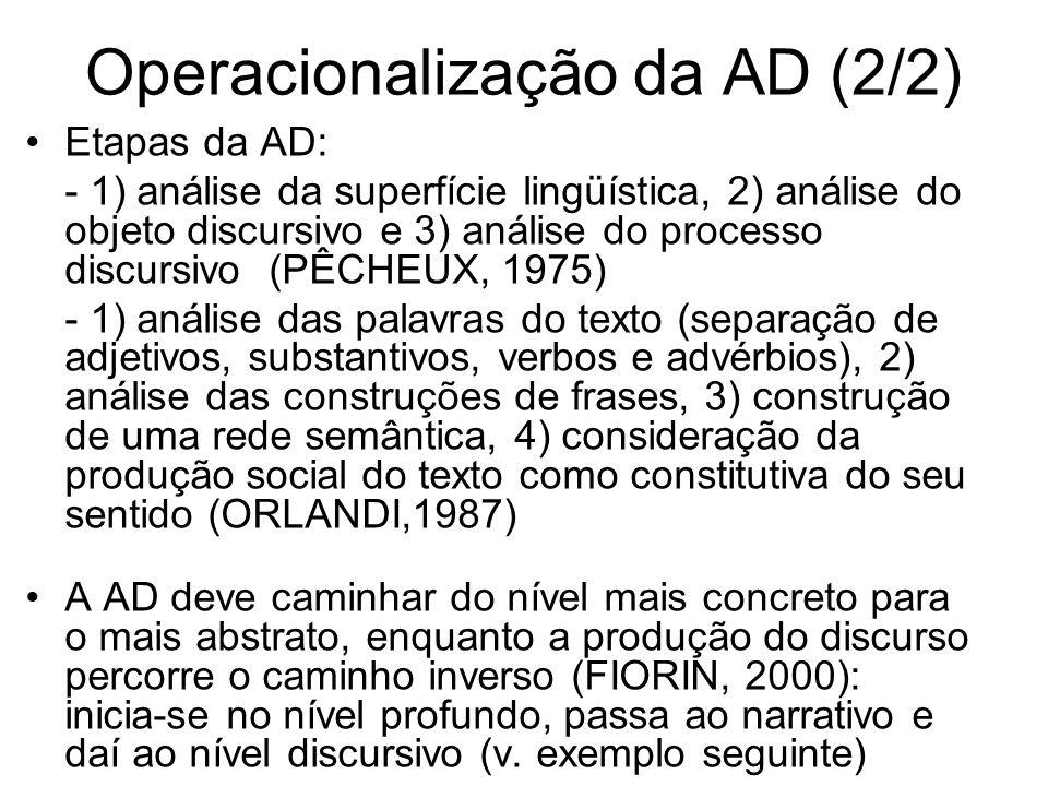 Operacionalização da AD (2/2)