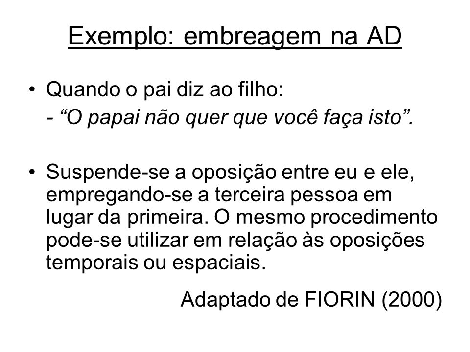 Exemplo: embreagem na AD