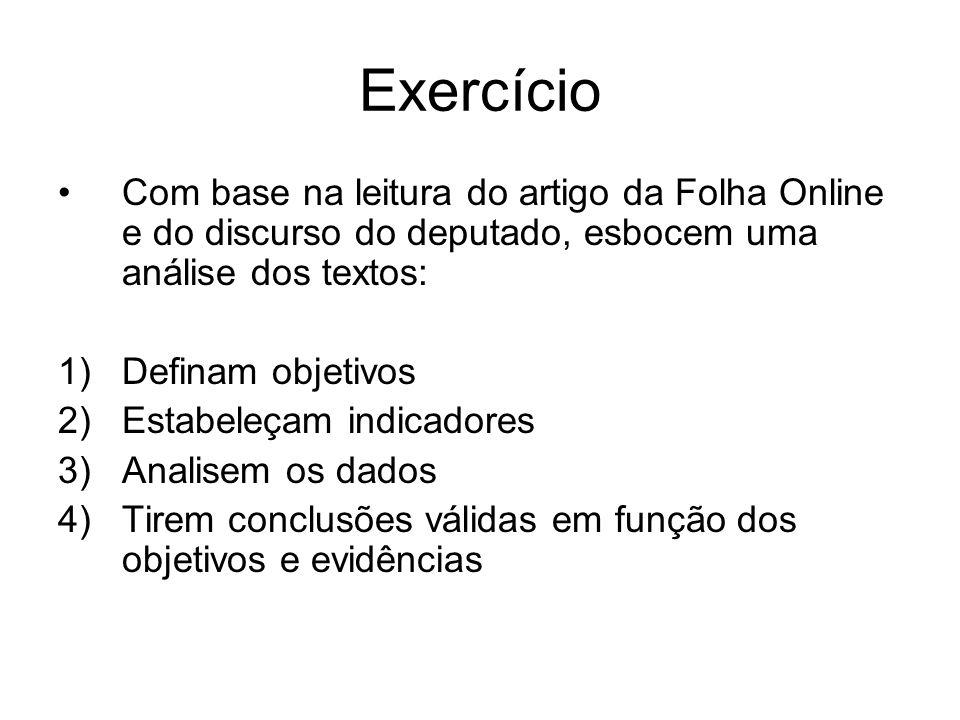 Exercício Com base na leitura do artigo da Folha Online e do discurso do deputado, esbocem uma análise dos textos: