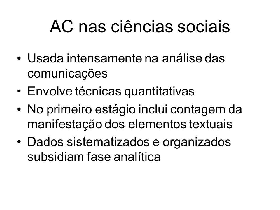 AC nas ciências sociais