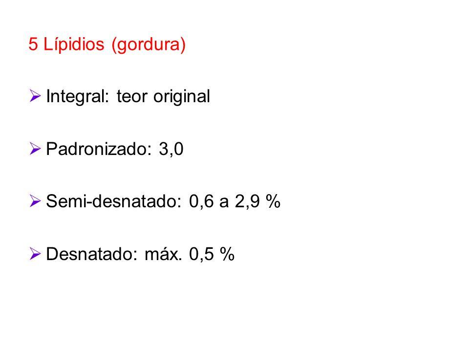 5 Lípidios (gordura) Integral: teor original. Padronizado: 3,0.
