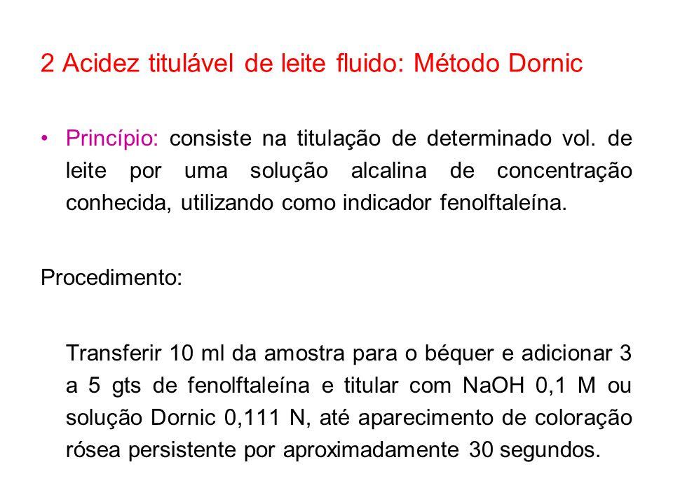 2 Acidez titulável de leite fluido: Método Dornic