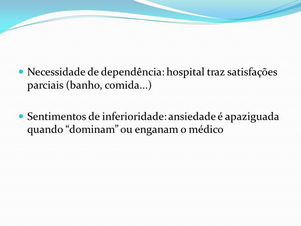 Necessidade de dependência: hospital traz satisfações parciais (banho, comida...)