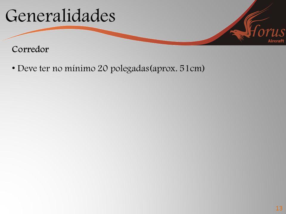 Generalidades Corredor Deve ter no mínimo 20 polegadas(aprox. 51cm) 13
